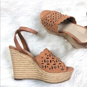 Marc Fisher Tan Stud Espadrille Wedges